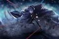 Картинка девушка, снег, оружие, меч, аниме, арт, плащ
