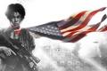 Картинка девушка, флаг, арт, винтовка, революция, восстание, Homefront: The Revolution