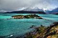 Картинка горы, мост, озеро, домики, островок, Чили, Patagonia