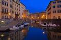 Картинка ночь, огни, лодка, дома, Италия, гавань, Тоскана