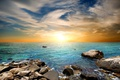 Картинка море, закат, beach, sky, sea, sunset, wave