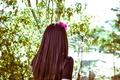 Картинка девушка, улица, волосы, брюнетка