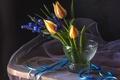 Картинка лента, тюльпаны, мускари