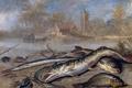 Картинка дом, река, краб, картина, церковь, Ян ван Кессель Старший, Рыба в Пейзаже