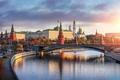 Картинка дорога, закат, мост, река, Москва, храм, набережная