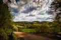 Картинка дорога, лес, облака, деревья, Германия, Kaiserstuhl hills