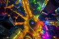 Картинка ночь, огни, дома, Китай, улицы, Площадь Дружбы, Далянь
