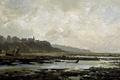 Картинка пейзаж, город, берег, картина, отлив, Карлос де Хаэс, Пляж в Виллервиле