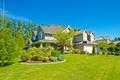 Картинка зелень, лето, небо, трава, деревья, дизайн, дом