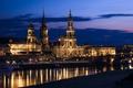 Картинка небо, ночь, тучи, город, река, здания, Германия