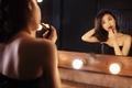 Картинка девушка, свет, лицо, отражение, волосы, зеркало, помада