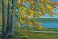 Картинка осень, пейзаж, дерево, картина, Озеро Старнбергер, Вильгельм Трюбнер