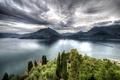 Картинка облака, горы, озеро, HDR, Италия, Castello di Vezio