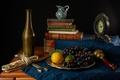 Картинка лимон, часы, книги, виноград, лайм, кувшин, фрукты