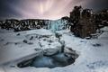 Картинка Oxarafoss, snow, Iceland