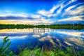 Картинка зелень, небо, облака, деревья, озеро, берег, обработка