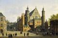 Картинка люди, дома, картина, площадь, городской пейзаж, Гаага, Вид на Бинненхоф