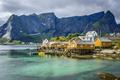 Картинка море, горы, скалы, дома, Норвегия, залив, Lofoten