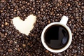 Картинка чашка, сердце, love, heart, кофе, beans, coffee