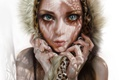 Картинка глаза, взгляд, девушка, лицо, красота, арт, капюшон