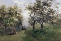 Картинка трава, девушка, деревья, пейзаж, природа, картина, Карлос де Хаэс