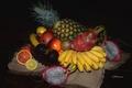 Картинка апельсин, киви, фрукты, ананас, банан, гранат, питахайя