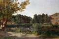 Картинка деревья, пейзаж, природа, картина, Озеро, охотник, Карлос де Хаэс