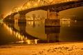 Картинка ночь, мост, огни, река, фонари, Gran, Венгрия