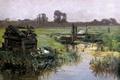 Картинка трава, пейзаж, ручей, картина, Карлос де Хаэс, Луга Голландии