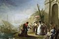 Картинка люди, лодка, картина, парус, жанровая, Прогулка по Берегу Моря, Мариано Сальвадор Маэлья