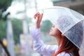 Картинка девушка, лицо, зонтик, фон, дождь, палец