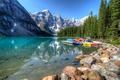 Картинка лес, деревья, горы, озеро, камни, скалы, берег
