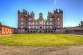 Картинка небо, солнце, замок, газон, HDR, Великобритания, Drumlanrig Castle