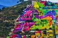 Картинка краски, гора, дома, Мексика, квартал, Идальго, Пачука-де-Сото
