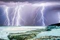 Картинка море, гроза, тучи, стихия, молния, Австралия, Перт