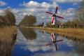 Картинка деревья, отражение, весна, канал, Бельгия, Фландрия, ветряная мельница