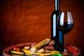 Картинка вино, бокал, овощи, помидор, колбаса, Wine, Vegetables