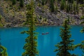 Картинка деревья, озеро, камни, берег, лодка, Канада, Альберта