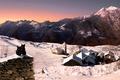 Картинка зима, снег, кошки, горы, дома, Италия, церковь