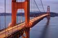 Картинка горы, мост, огни, пролив, опора, Сан-Франциско, Золотые Ворота