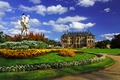 Картинка небо, облака, деревья, цветы, газон, Германия, Дрезден