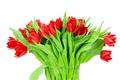 Картинка листья, букет, лепестки, тюльпаны, ваза