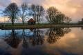 Картинка поле, деревья, дом, отражение, река, вечер, Нидерланды