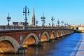Картинка мост, река, Франция, башня, фонари, солнечно, Bordeaux