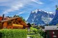 Картинка небо, облака, горы, скалы, дома, Швейцария, городок