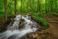 Картинка зелень, трава, деревья, парк, ручей, камни, водопад