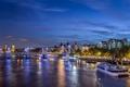 Картинка ночь, мост, огни, река, Лондон, Великобритания, набережная