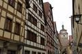 Картинка улица, часы, башня, дома, Германия, Бавария, Ротенбург-на-Таубере