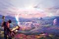Картинка фиолетовый, облака, круги, горы, полосы, ленты, река