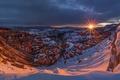 Картинка солнце, снег, закат, скалы